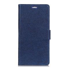 Custodia Portafoglio In Pelle Cover con Supporto L02 per Asus ZenFone V Live Blu