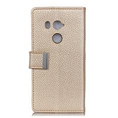 Custodia Portafoglio In Pelle Cover con Supporto L02 per HTC U11 Eyes Oro