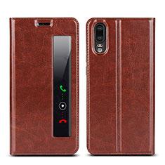 Custodia Portafoglio In Pelle Cover con Supporto L02 per Huawei P20 Marrone