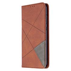 Custodia Portafoglio In Pelle Cover con Supporto L02 per Huawei P40 Lite E Marrone