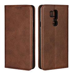 Custodia Portafoglio In Pelle Cover con Supporto L02 per LG G7 Marrone