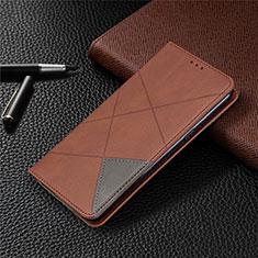 Custodia Portafoglio In Pelle Cover con Supporto L02 per LG K61 Marrone