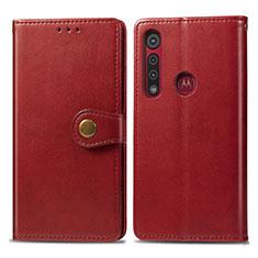 Custodia Portafoglio In Pelle Cover con Supporto L02 per Motorola Moto G8 Play Rosso