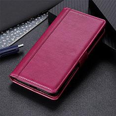 Custodia Portafoglio In Pelle Cover con Supporto L02 per Oppo A15 Rosso