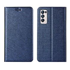 Custodia Portafoglio In Pelle Cover con Supporto L02 per Oppo Reno5 Pro+ Plus 5G Blu