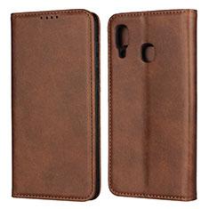 Custodia Portafoglio In Pelle Cover con Supporto L02 per Samsung Galaxy A30 Marrone