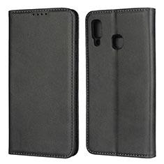 Custodia Portafoglio In Pelle Cover con Supporto L02 per Samsung Galaxy A30 Nero