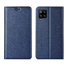 Custodia Portafoglio In Pelle Cover con Supporto L02 per Samsung Galaxy A42 5G Blu