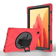 Custodia Portafoglio In Pelle Cover con Supporto L02 per Samsung Galaxy Tab A7 4G 10.4 SM-T505 Rosso