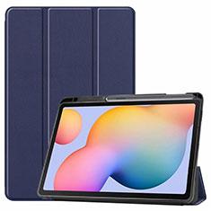 Custodia Portafoglio In Pelle Cover con Supporto L02 per Samsung Galaxy Tab S6 Lite 4G 10.4 SM-P615 Blu