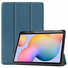 Custodia Portafoglio In Pelle Cover con Supporto L02 per Samsung Galaxy Tab S6 Lite 4G 10.4 SM-P615 Verde