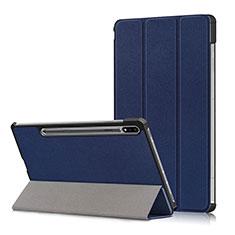 Custodia Portafoglio In Pelle Cover con Supporto L02 per Samsung Galaxy Tab S7 Plus 12.4 Wi-Fi SM-T970 Blu