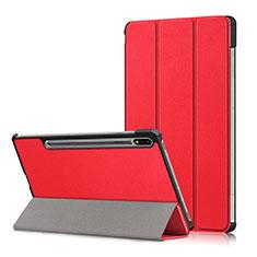 Custodia Portafoglio In Pelle Cover con Supporto L02 per Samsung Galaxy Tab S7 Plus 12.4 Wi-Fi SM-T970 Rosso