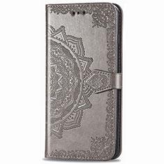 Custodia Portafoglio In Pelle Cover con Supporto L02 per Samsung Galaxy XCover Pro Grigio