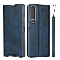 Custodia Portafoglio In Pelle Cover con Supporto L02 per Sony Xperia 1 II Blu