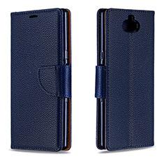 Custodia Portafoglio In Pelle Cover con Supporto L02 per Sony Xperia 10 Blu