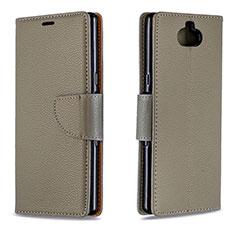 Custodia Portafoglio In Pelle Cover con Supporto L02 per Sony Xperia 10 Grigio