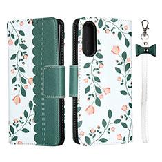 Custodia Portafoglio In Pelle Cover con Supporto L02 per Sony Xperia 10 II Verde