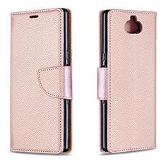 Custodia Portafoglio In Pelle Cover con Supporto L02 per Sony Xperia 10 Oro Rosa