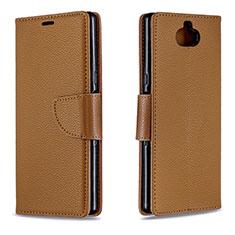 Custodia Portafoglio In Pelle Cover con Supporto L02 per Sony Xperia 10 Plus Marrone