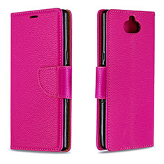 Custodia Portafoglio In Pelle Cover con Supporto L02 per Sony Xperia 10 Rosso