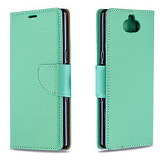 Custodia Portafoglio In Pelle Cover con Supporto L02 per Sony Xperia 10 Verde