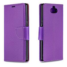 Custodia Portafoglio In Pelle Cover con Supporto L02 per Sony Xperia 10 Viola