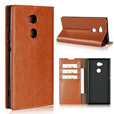 Custodia Portafoglio In Pelle Cover con Supporto L02 per Sony Xperia XA2 Ultra Arancione