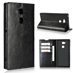 Custodia Portafoglio In Pelle Cover con Supporto L02 per Sony Xperia XA2 Ultra Nero