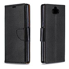 Custodia Portafoglio In Pelle Cover con Supporto L02 per Sony Xperia XA3 Nero