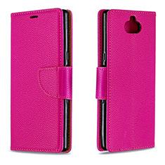 Custodia Portafoglio In Pelle Cover con Supporto L02 per Sony Xperia XA3 Ultra Rosso