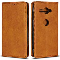 Custodia Portafoglio In Pelle Cover con Supporto L02 per Sony Xperia XZ2 Compact Arancione