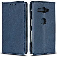Custodia Portafoglio In Pelle Cover con Supporto L02 per Sony Xperia XZ2 Compact Blu