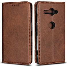 Custodia Portafoglio In Pelle Cover con Supporto L02 per Sony Xperia XZ2 Compact Marrone