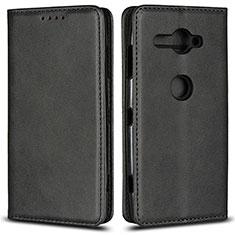 Custodia Portafoglio In Pelle Cover con Supporto L02 per Sony Xperia XZ2 Compact Nero