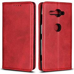 Custodia Portafoglio In Pelle Cover con Supporto L02 per Sony Xperia XZ2 Compact Rosso