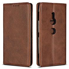 Custodia Portafoglio In Pelle Cover con Supporto L02 per Sony Xperia XZ2 Marrone