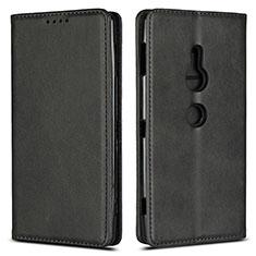 Custodia Portafoglio In Pelle Cover con Supporto L02 per Sony Xperia XZ2 Nero