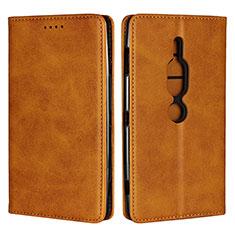 Custodia Portafoglio In Pelle Cover con Supporto L02 per Sony Xperia XZ2 Premium Arancione