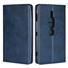 Custodia Portafoglio In Pelle Cover con Supporto L02 per Sony Xperia XZ2 Premium Blu