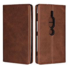 Custodia Portafoglio In Pelle Cover con Supporto L02 per Sony Xperia XZ2 Premium Marrone