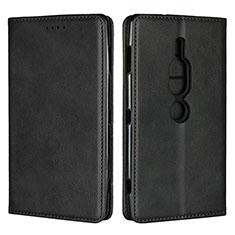 Custodia Portafoglio In Pelle Cover con Supporto L02 per Sony Xperia XZ2 Premium Nero
