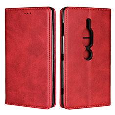 Custodia Portafoglio In Pelle Cover con Supporto L02 per Sony Xperia XZ2 Premium Rosso