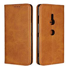 Custodia Portafoglio In Pelle Cover con Supporto L02 per Sony Xperia XZ3 Arancione