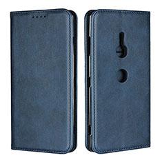 Custodia Portafoglio In Pelle Cover con Supporto L02 per Sony Xperia XZ3 Blu