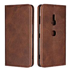Custodia Portafoglio In Pelle Cover con Supporto L02 per Sony Xperia XZ3 Marrone