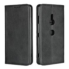 Custodia Portafoglio In Pelle Cover con Supporto L02 per Sony Xperia XZ3 Nero