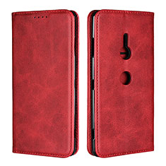 Custodia Portafoglio In Pelle Cover con Supporto L02 per Sony Xperia XZ3 Rosso