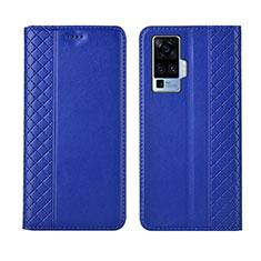Custodia Portafoglio In Pelle Cover con Supporto L02 per Vivo X50 Pro 5G Blu