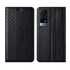 Custodia Portafoglio In Pelle Cover con Supporto L02 per Vivo X60 5G Nero